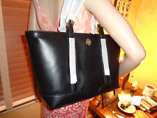 NWT TORY BURCH LANDON Buckle PEBBLED Leather TOTE Med BLACK  DUSTBAG $495