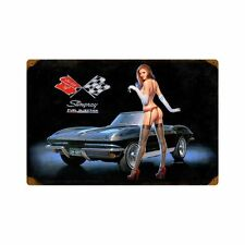 Corvette Stingray Fuel Injection Pin Up Nostalgie Retro Sign Blechschild Schild