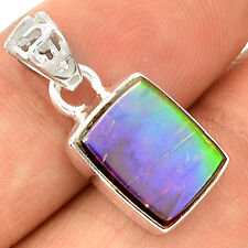 Genuine Canadian Ammolite 925 Sterling Silver Pendant Jewelry SP220306