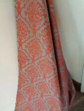 VINTAGE PURE SILK DOVE GREY MANDARIN ORANGE curtain fabric per 50cm x 140cm wide