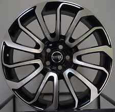 "24"" APEC WHEELS SILVER 2 BLACK + NEW TYRES TO FIT RANGE ROVER SPORT 24INCH"