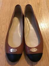 Coach Brown Flats With Black Toe Size 7