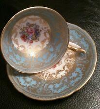 AYNSLEY-ENGLAND-BONE CHINA HANDPAINTED BLUE CUP and SAUCER,PINK ROSES and GOLD
