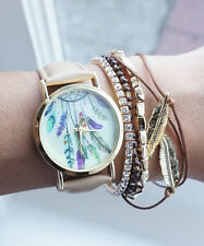 Dreamcatcher Nude Beige Gold Tone Watch with Matching Charm and Feather Bracelet