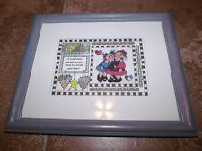 "Cute A TRUE FRIEND...HOLDS YOUR HEART Counted Cross Stitch in 10"" x 12"" Frame"