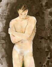 Painting, NUDE male, Cornwall II, 1/3/50 Watercolor Realism Signed FREE SHIP
