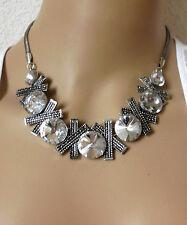 Halsschmuck Damen Kette Halskette Collier Metallkette silberfarben Kristall edel
