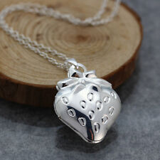 """20"""" Creative Silver Chic Smooth Strawberry Locket Pendant Necklace Chain Jewelry"""