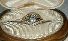 Antique 14k Yellow gold Engagement ring 10k guard enhancer wedding set $2500
