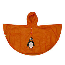 Kids Poncho Rain Coat Hooded Waterproof Unisex Children Penguin 4 - 6 Years