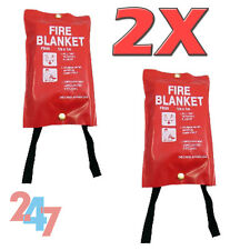 2X Large Fast Release Fire Blankets 1M X 1M Soft Red Case Workplace Kitchen Home