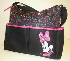 Diaper Bag Tote Large Disney Minnie Mouse Black Pink Heart Flower Star Word NWT