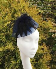 Cute Navy Blue Net Mesh and Feather Fascinator Hat Wedding Races Ascot