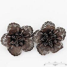 Antique Vintage Art Deco Sterling .900 Silver German DH Filigree Rose Earrings!
