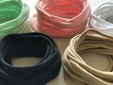 50 THIN SUPER SOFT Nylon Elastic Baby Headbands Wholesale One Size 5 Colour Mix