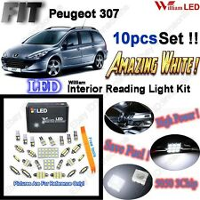 10 Blubs Super Bright White LED SMD Full Interior Light Kit For Peugeot 307