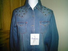 LADIES WESTERN SHIRT BY WRANGLER NWT FADED DENIM LARGE LONG SLEEVES SNAPS