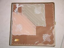 VINTAGE BOXED SET OF 3 FEMININE COLOURED & EMBROIDERED HANDKERCHIEFS
