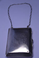 "ANTIQUE HEAVY 140 GRAMS STERLING SILVER PURSE BUILT-IN COIN HOLDER & 13"" CHAIN"