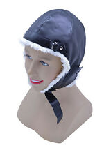 PILOT HAT FUR LINED FANCY DRESS ACCESSORIES AIRPLANE SOFT HELMET