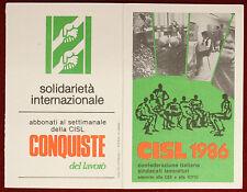 Tessera Confederazione Italiana Sindacati Lavoratori 1986 VERONA #T419