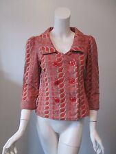 Anthropologie HWR Orange Vintage Geometric Stretch Button Jacket Blazer M (6)