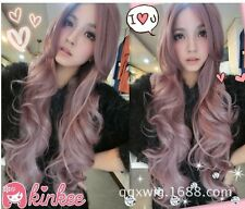 "New  80cm/31.5"" Lavender big wave long wig Women cosplay Wig"