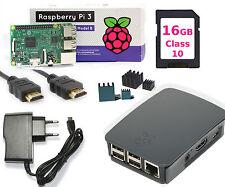 Raspberry PI 3 Komplet Set, 16GB SD, HDMI, Netzteil, Original Gehäuse Schwarz