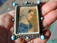 ANTIQUE VINTAGE ITALIAN SILVER PLATE BLUE GLASS CABOCHON MINIATURE PHOTO FRAME