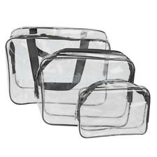 Pack 3-Size Clear Transparent Makeup Cosmetic Bag Travel Toiletry Organizer