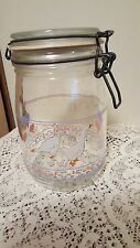 Arc France glass storage jar snap close seal lid White Geese Pink Hearts 1 Liter