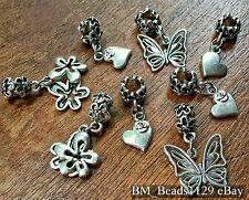 8P LOT Mixed Flowers Roses Butterfly Hearts Pendants European Dangle Bead Charms