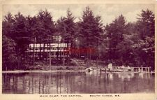 MAIN CAMP, THE CAPITOL, SOUTH CASCO, ME. people at dock, men in boat