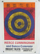 MERCE CUNNINGHAM AND DANCE COMPANY JASPER JOHNS ORIGINAL 1968 POSTER