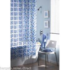 PEVA MOSAIC SHOWER BATH BLUE METRIC CURTAIN INCLUDE 12 HOOKS SC-405