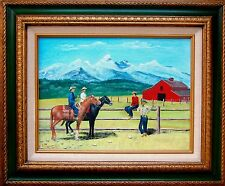 """Nice Oil Painting """"Cowboys/Girls Horse Riding At A Ranch Near Snow Mountains"""""""