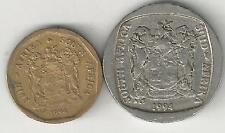 2 DIFFERENT COINS from SOUTH AFRICA - 10 CENTS & 1 RAND (BOTH DATING 1994)
