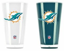 Miami Dolphins Tumblers - Set of 2 20oz Glass [NEW] Tumbler Coffee Cup Mug