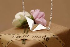 925 Sterling Silver Simple Cute Paper Plane Shape Clavicle Chain Necklace