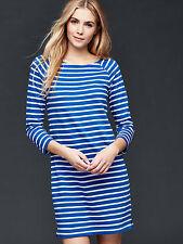 NEW GAP Womens Shift Dress Cotton Knit Stripe Boat Blue Gray Red XS L $69 NEW