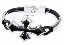 Vintage Cross Black Alloy Bracelet Accessory Punk Rock Wristband Cuff