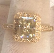 10K Yellow  Gold Radiant-cut 1.51 Moissanite & Natural Diamonds Engagement Ring