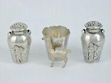 Vintage Peru Sterling Silver Salt Pepper Shakers & Toothpick Holder Set