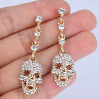 Skull Pierced Dangle Earring Rhinestone Crystal Clear Halloween Gold Tone