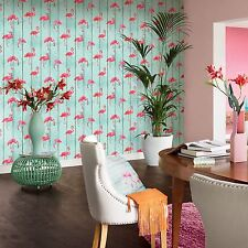 RASCH BARBARA BECKER FLAMINGO WALLPAPER - TEAL 479706 WOOD PANEL