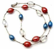 Tin Cup Bead Necklace Sterling Silver Red White & Blue Glass Beads 925 Jewelry