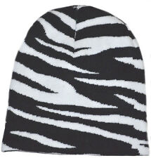 Wild Animal Print Zebra Cuffless Beanie Knit Hat
