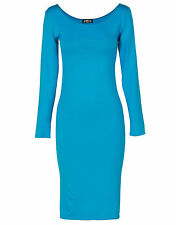 LADIES MIDI WOMENS LONG SLEEVE STRETCH BODYCON PLAIN JERSEY MIDI DRESS PLUS SIZE