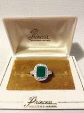 Magnificent 2.24ct Princess Colombian Emerald Ring, .925 Sterling Silver, Size 7