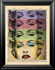 Madonna Original Art Design Upcycled Vintage Dictionary Art Page Wall Print